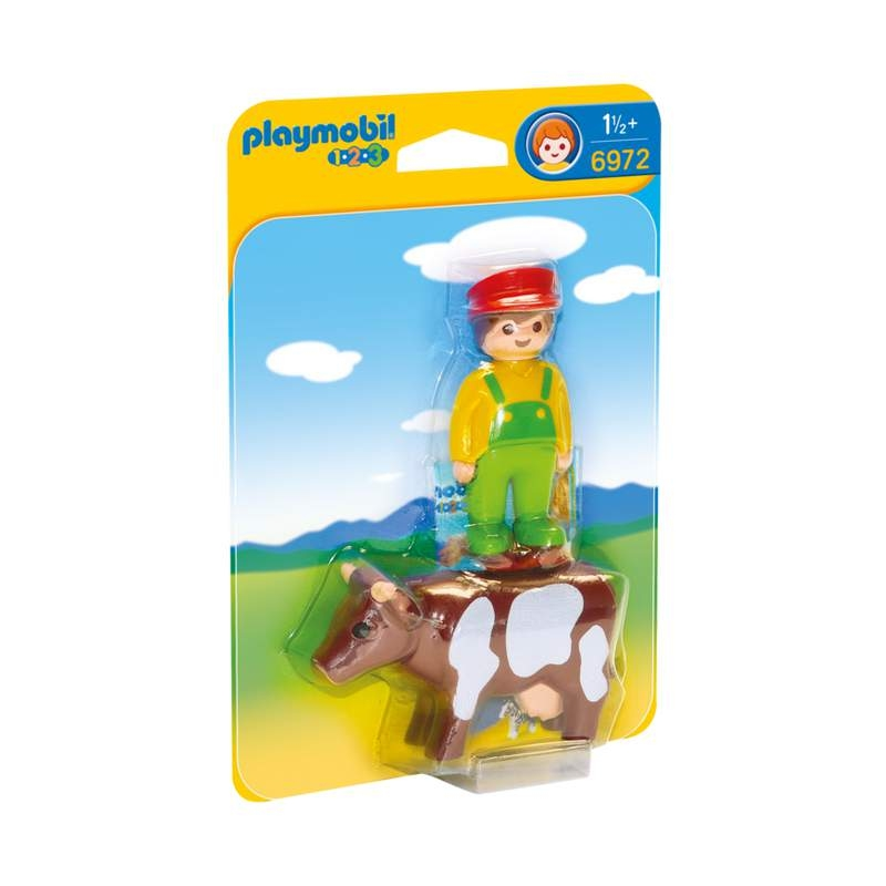 Playmobil 1-2-3 Farmer With Cow