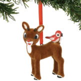 Rudolph w/ Birds flocked Ornament