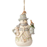 White Woodland Snowman Ornament
