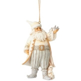 White Woodland Santa with Bird Ornament