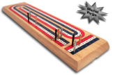 Cribbage Board 3 Track Hardwood with Metal Pegs