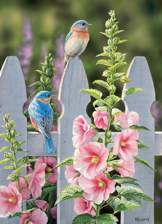 Bluebirds and Hollyhocks 1000 piece puzzle