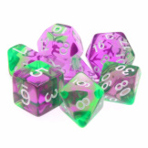 TMG Dice Translucent RPG Set of 7 Swirl Violet Green