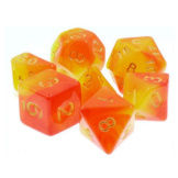 TMG Dice Dragon's Dice RPG Set of 7 Lava Shock Yellow/Orange Fusion