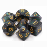 TMG Dice Dragon's Dice RPG Set of 7 Totally Not Evil Black Aurora
