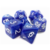TMG Dice Dragon's Dice RPG Set of 7 Sigil Of Faith Blue Pearl Opaque