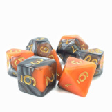 TMG Dice Fusion RPG Set of 7 Orange/Silver