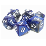 TMG Dice Dragon's Dice RPG Set of 7 Blessed Steel Silver/Blue