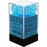 Chessex Dice 12D6 Frosted Caribbean Blue/White 16MM