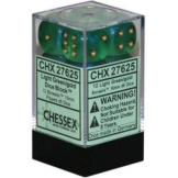 Chessex Dice 12D6 Borealis Light Green/Gold 16MM
