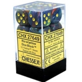 Chessex Dice 12D6 Festive Rio/Yellow 16MM