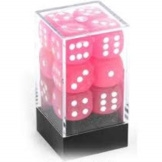Chessex Dice 12D6 Frosted Pink/White 16MM