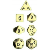 Chessex Dice Opaque 7pc Ivory/Black