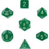 Chessex Dice Opaque 7pc Green/White