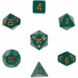 Chessex Dice Opaque 7pc Dusty Green/Copper