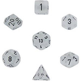 Chessex Dice Frosted: 7Pc Clear / Black