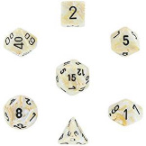 Chessex Dice Marble: 7Pc Ivory / Black