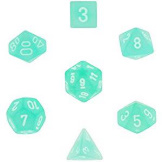 Chessex Dice Frosted: 7Pc Teal / White