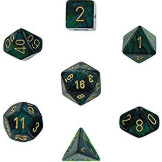 Chessex Dice Scarab: 7Pc Jade / Gold
