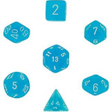 Chessex Dice Frosted: 7Pc Caribbean Blue