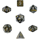 Chessex Dice Leaf: 7Pc Black Gold / Silver