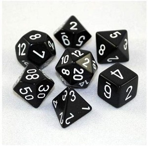Chessex Dice Opaque 7pc Black/White