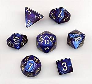 Chessex Dice Scarab: 7Pc Royal Blue / Gold