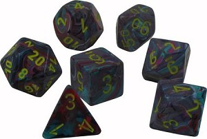 Chessex Dice Festive: 7Pc Mosaic / Yellow