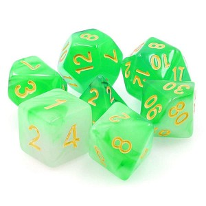 TMG Dice Translucent RPG Set of 7 Green Haze
