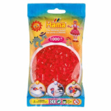 Hama Beads 1000pc Bag Translucent Red