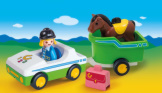 Playmobil 1-2-3 Car With Horse Trailer