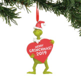 Grinch with Heart 2019 Dated Ornament