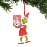 Grinch with Book Ornament