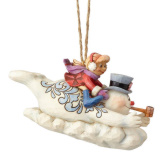 Frosty and Karen Sledding Ornament