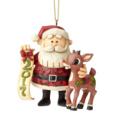 Rudolph & Santa 2017 Dated Ornament