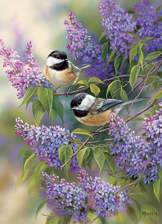 Chickadees and Lilacs 1000 piece puzzle
