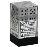 Chessex Dice 12D6 Frosted Clear/Black 16MM