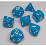 Chessex Dice Opaque 7pc Blue/White
