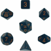 Chessex Dice Opaque 7pc Dusty Blue/Copper