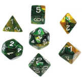 Chessex Dice Gemini Gold/Green/White