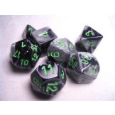 Chessex Dice Gemini 7pc Black/Grey With Green