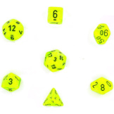 Chessex Dice Vortex: 7Pc Bright Green / Black