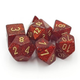 Chessex Dice Glitter 7pc Ruby/Gold