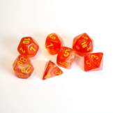 Chessex Dice 7pc Ghostly Glow Orange