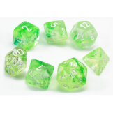 Chessex Dice  7pc Nebula Spring/White Luminary