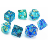 Chessex Dice  7pc Nebula Oceanic/Gold Luminary