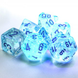 Chessex Dice Borealis 7pc Icicle/Light Blue Luminary