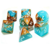 Chessex Dice RPG 7 set Gemini Copper/Turquoise with White