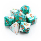 Chessex Dice RPG 7 set Gemini Mint Green/White with Orange