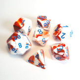 Chessex Dice RPG 7 Set Gemini Red/White with Blue